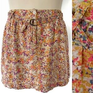 UO Kimchi Blue Linen Belted Button Skirt Floral